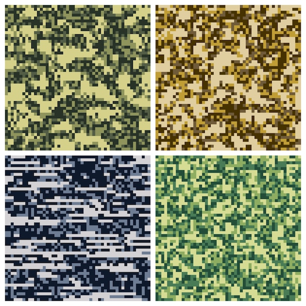 Military camouflage pixel mosaic collection Premium Vector
