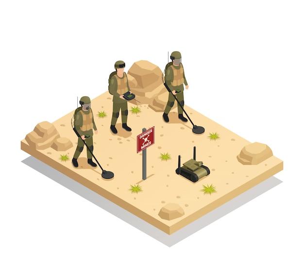 Military demining robots isometric Free Vector