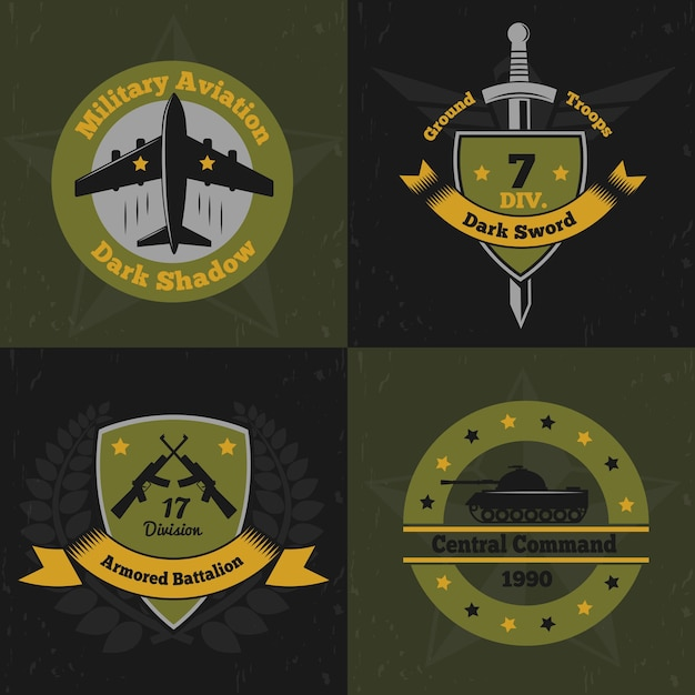 Military emblems color design concept with flat colourful emblems of war service insignia with weapons Free Vector