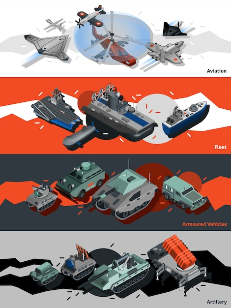 Military equipment banners isometric Free Vector