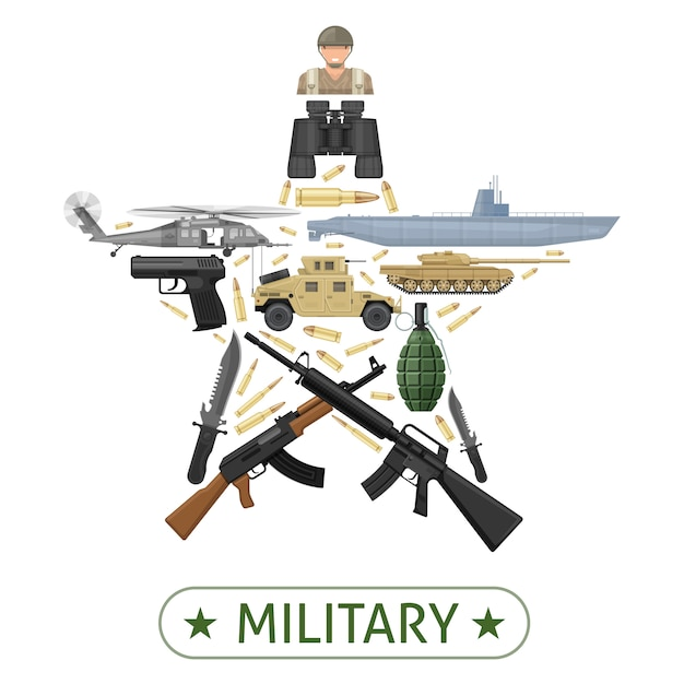 Military equipment design in star shape with combat vehicles weapons ammunition Premium Vector