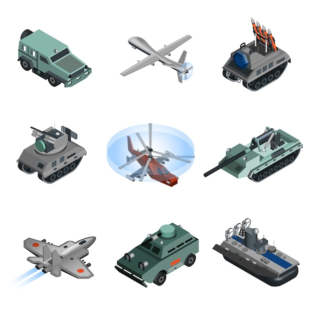 Military equipment isometric Free Vector