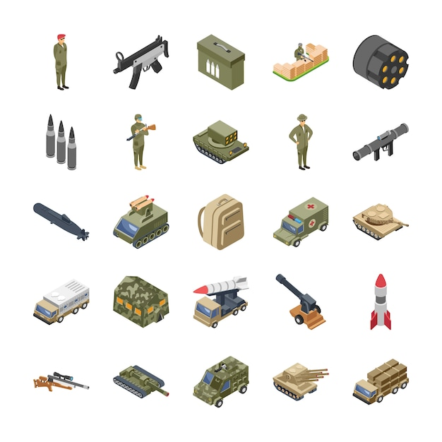 Military forces army icons pack Premium Vector
