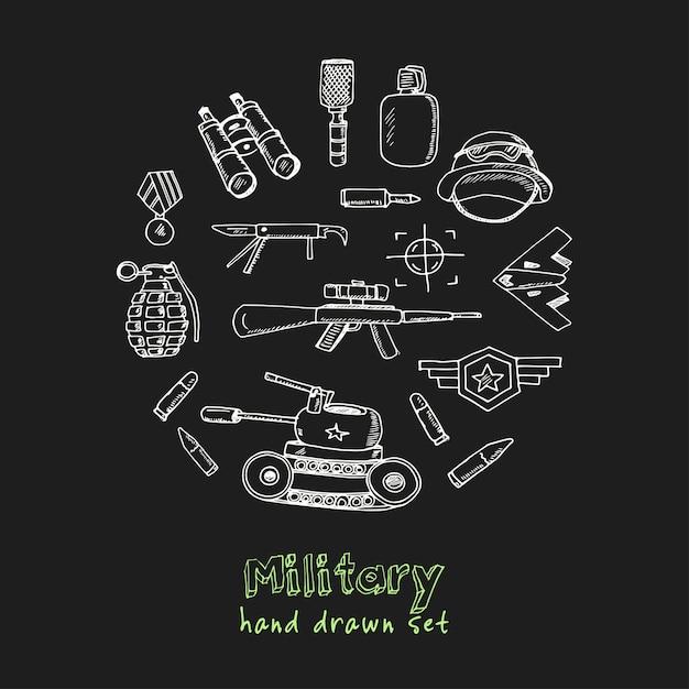 ミリタリー手描き落書きセット Premiumベクター