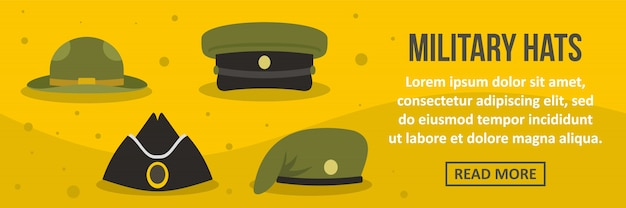 Military hats banner template horizontal concept Premium Vector