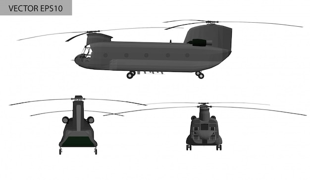 Military helicopter boeing Premium Vector