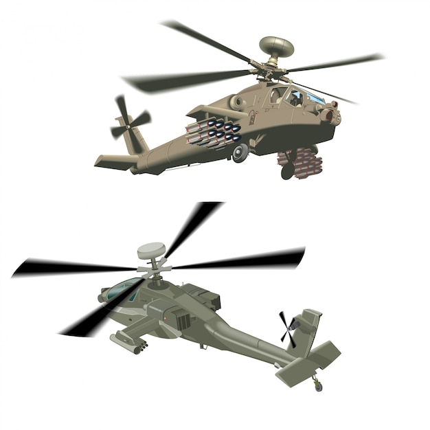 Military helicopters Premium Vector