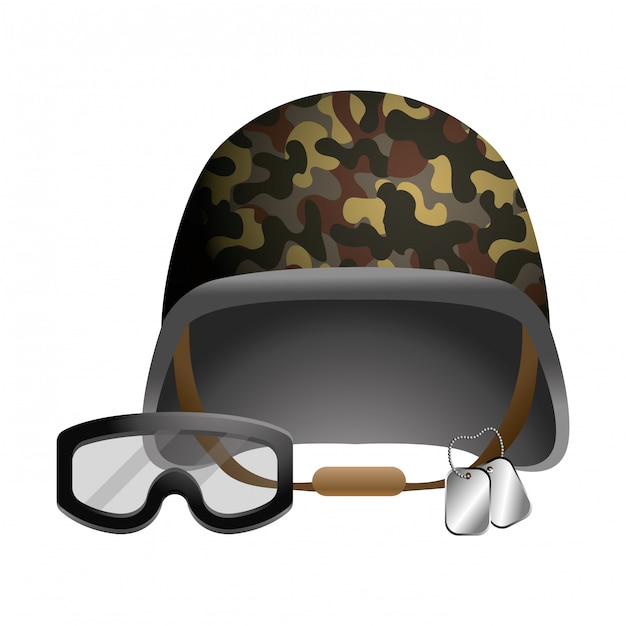 Military helmet and goggle and dog tag plates Premium Vector