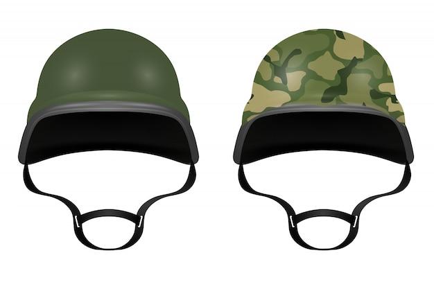 Military helmets isolated on white background. vector illustration Premium Vector