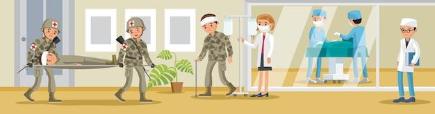 Баннер военного госпиталя с солдатами, несущими раненого на носилках, врачи и хирург Бесплатные векторы