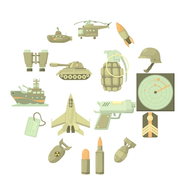 Military icon set, cartoon style Premium Vector