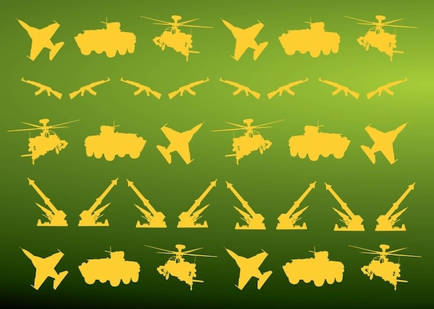 Military icons pattern Free Vector