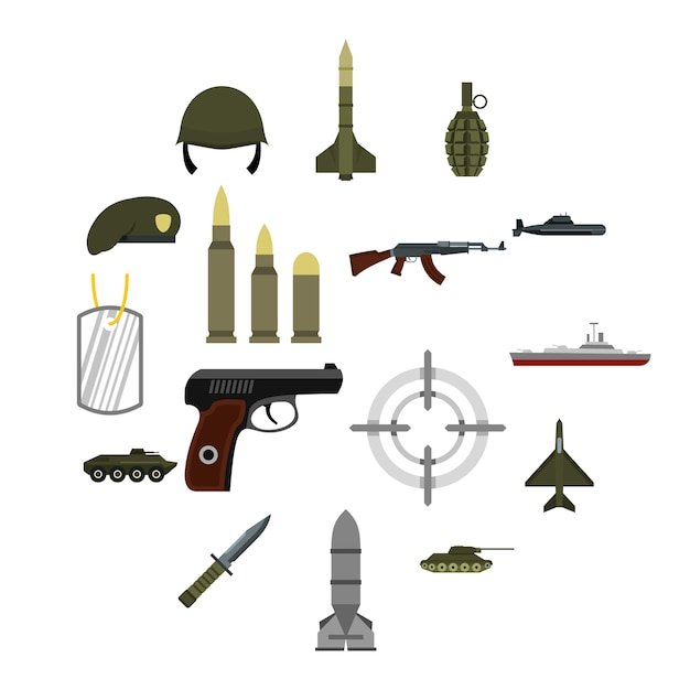 Military icons set, flat style Premium Vector