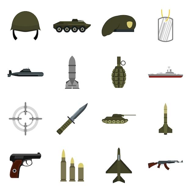Military icons set Premium Vector