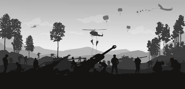 Военная иллюстрация, армейский фон. Premium векторы