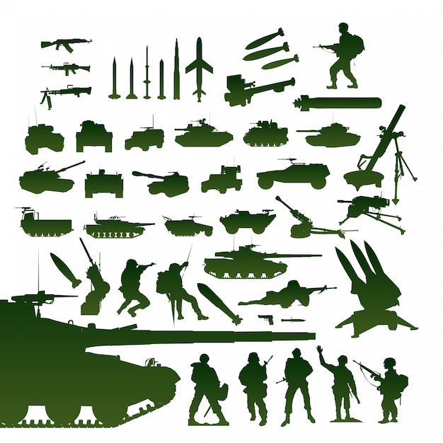 Military items set Premium Vector