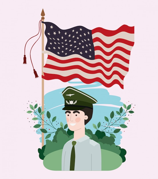 Military man with usa flag in the field Premium Vector
