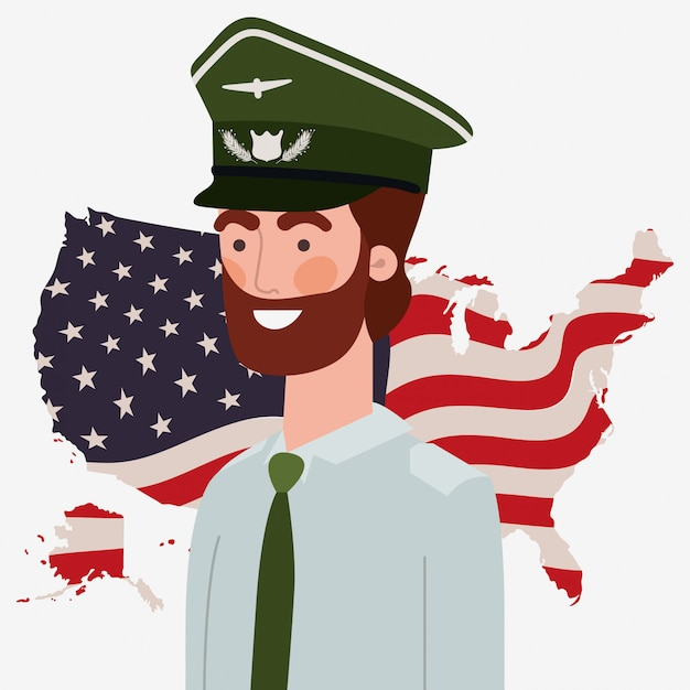 Military man with usa map and flag Premium Vector