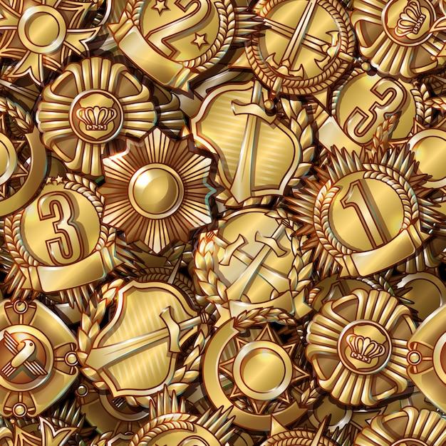 軍事メダルのシームレスパターン 無料ベクター
