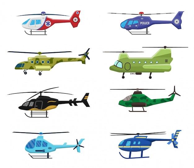 軍、警察、医療ヘリコプターのアイコンが白の背景、航空輸送、航空、イラストに設定。 Premiumベクター