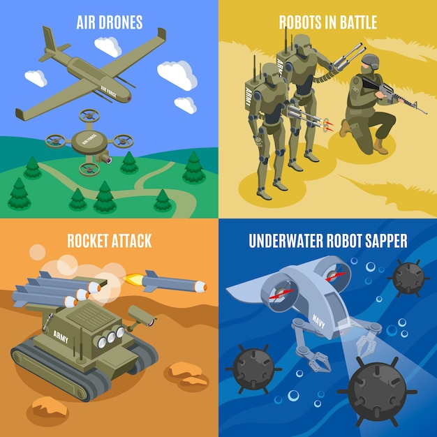 Military robots in battle 2x2 concept with air drones rocket attacks underwater robot sapper isometric icons Free Vector