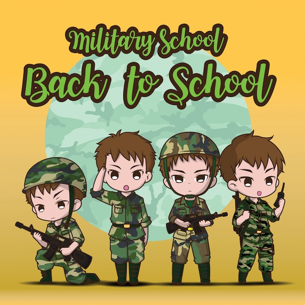 Military school., back to school. cute army soldier boy set cartoon. Premium Vector