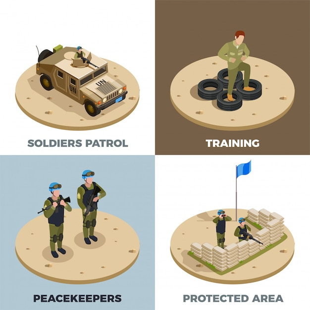 Military service 4 isometric icon set Free Vector