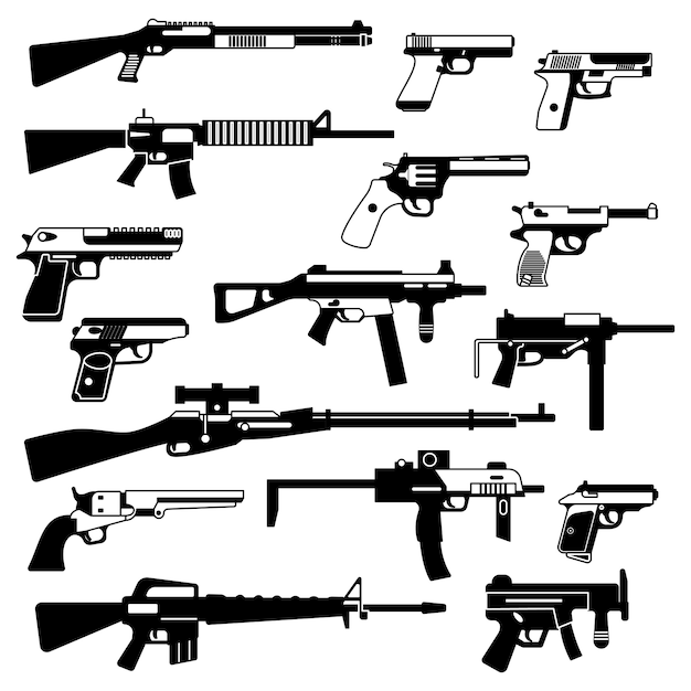 Military set of automatic guns, pistols and other weapons. monochrome illustrations isolate Premium Vector