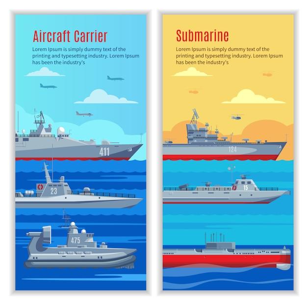 軍事船の垂直バナー 無料ベクター