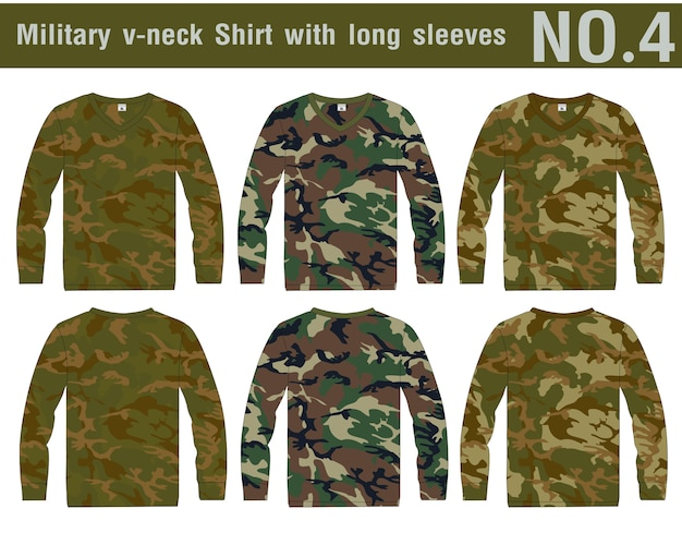 Military shirt long sleeves designs. Premium Vector