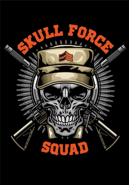 Военный дизайн рубашки черепа Premium векторы