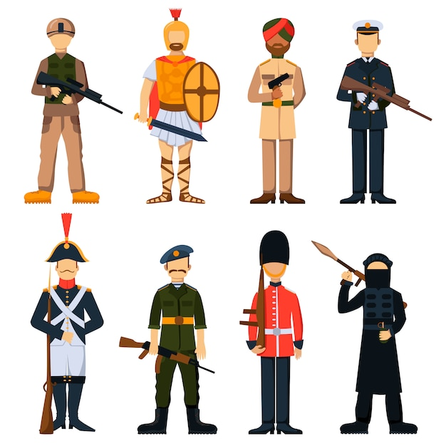 Military soldiers in uniform avatar character Premium Vector
