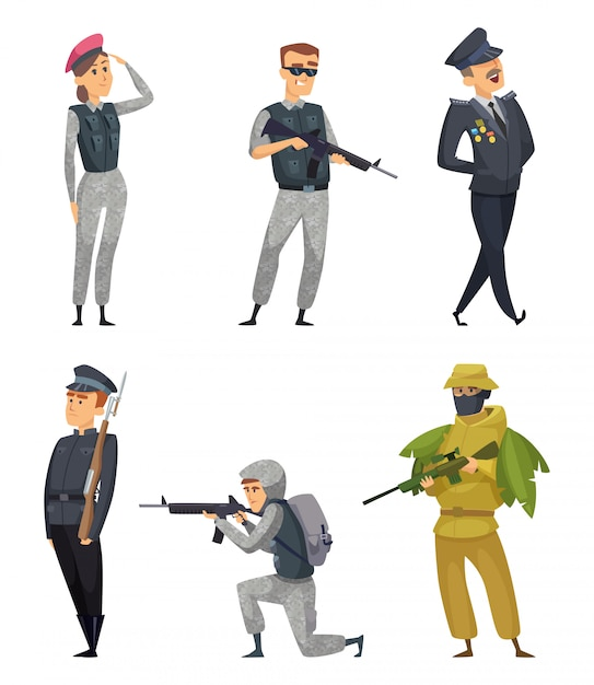 Military soldiers with various weapons. vector characters Premium Vector
