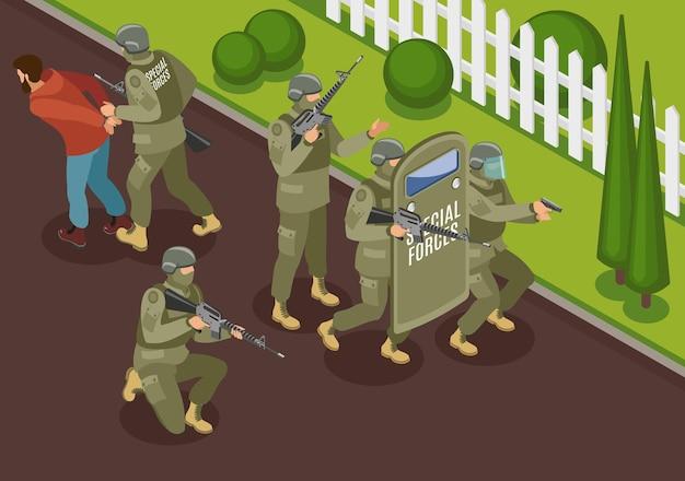 犯罪ベクトルイラストの拘留とテロリストの等尺性構成との戦い中の軍事特殊部隊 Premiumベクター