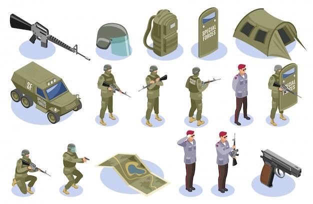 군대 특수 부대 요소 및 문자 집합 무료 벡터