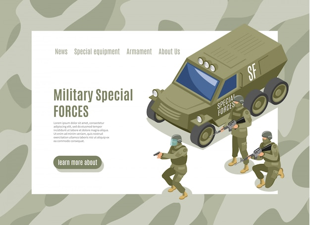 Military special forces landing page Free Vector