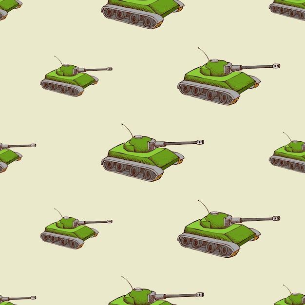 군사 탱크 완벽 한 패턴입니다. 군대 수송 배경, 무료 벡터