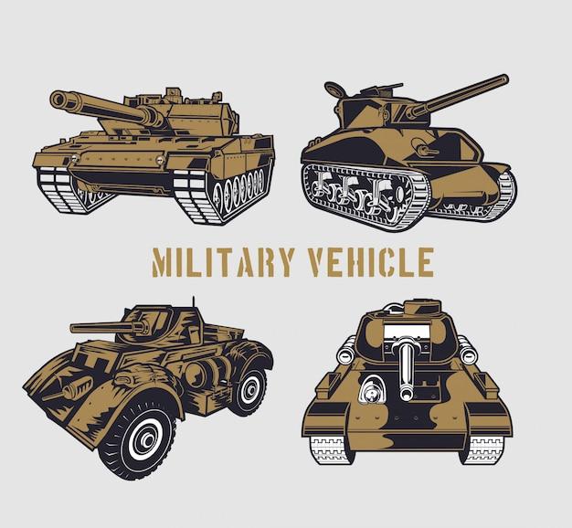 Military tank set Premium Vector