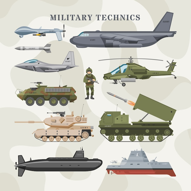 Military technics  army transport plane and armored tank or helicopter illustration technical set of armored aviation and armoured submarine  on camouflage background Premium Vector