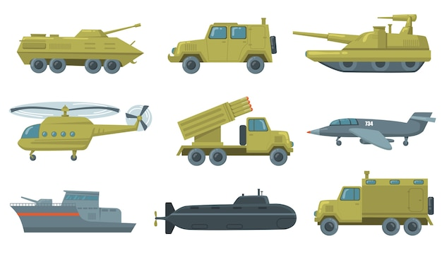 軍用輸送アイコンセット。空軍ジェット、潜水艦、ヘリコプター、トラック、装甲戦車が分離されました。軍用車両、武器、力の概念のベクトルイラスト 無料ベクター