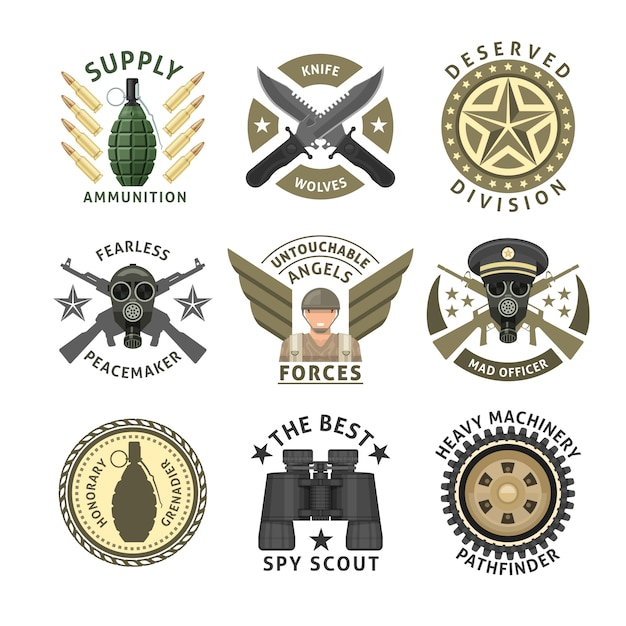 Military units emblems with crossed weapon ammunition respirator crawler wheel wings stars isolated vector illustration Free Vector