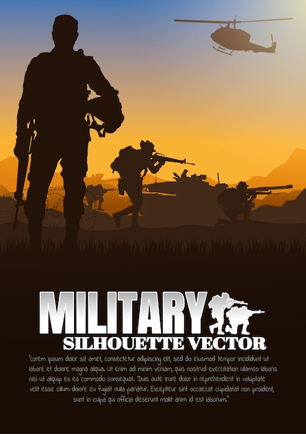 Military vector illustration, army background. Premium Vector