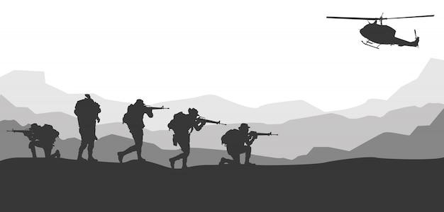 軍のベクトル図、軍の背景。 Premiumベクター