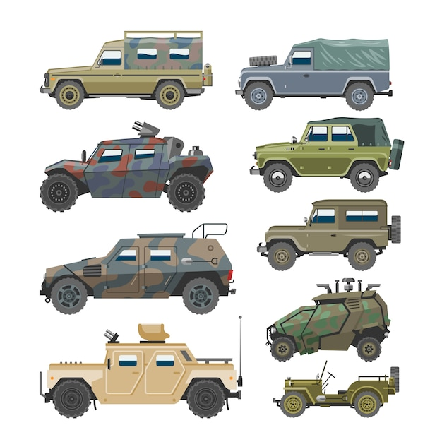Military vehicle army car and armored truck or armed machine illustration set of war transportation isolated on white background Premium Vector