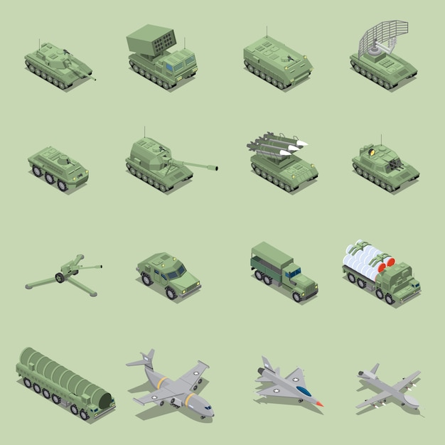 Military vehicles isometric set with tank cannon  rocket launcher jet fighter self propelled howitzer isolated icons Free Vector
