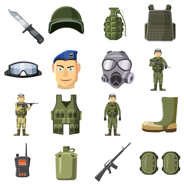 Military weapon icons set, cartoon style Premium Vector