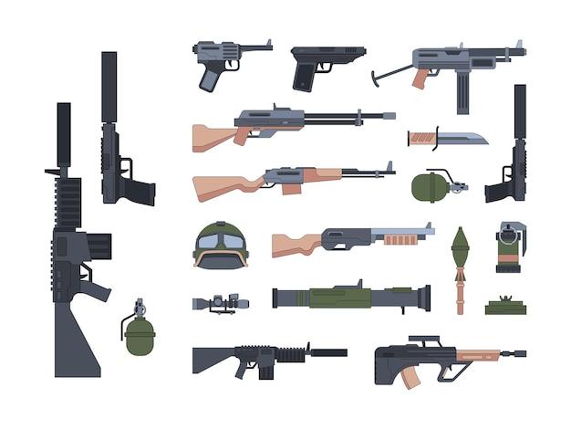 軍事兵器と保護フラットイラストセット。ショットガンとサイレンスガンパック。 a Premiumベクター