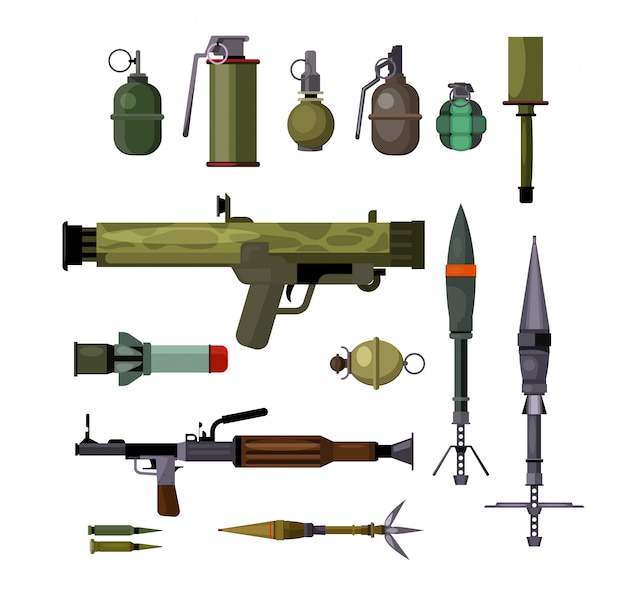 Military weapons set Free Vector