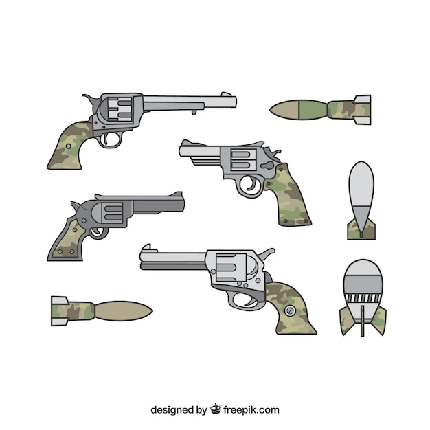 Military weapons with guns and pistols Free Vector