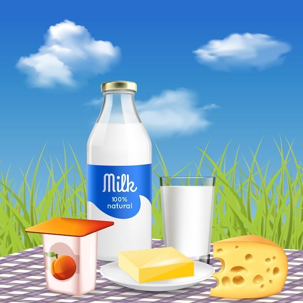 ピクニックでの牛乳と自然乳製品 無料ベクター